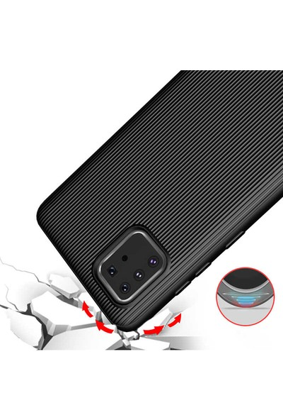 Happyshop Samsung Galaxy Note 10 Lite Kılıf Ultra Korumalı Çizgili Tio Silikon + Nano Cam Ekran Koruyucu Lacivert