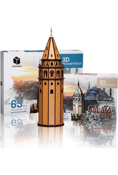 Pershang Galata Kulesi 61 Parça Ahşap 3D Puzzle
