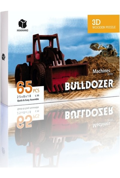 Pershang Buldozer 65 Parça Ahşap 3D Puzzle