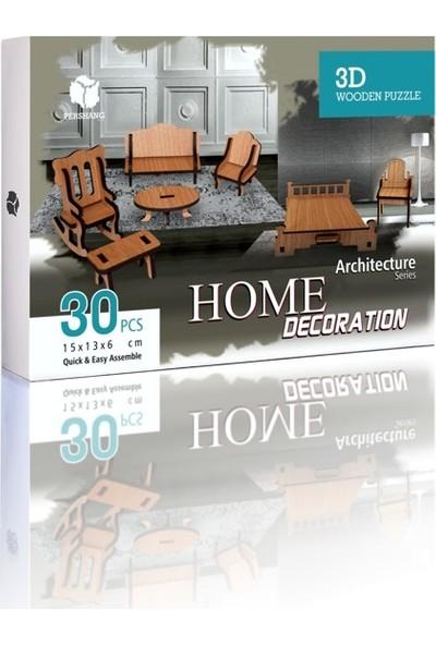 Pershang Ev Eşyaları 30 Parça Ahşap 3D Puzzle