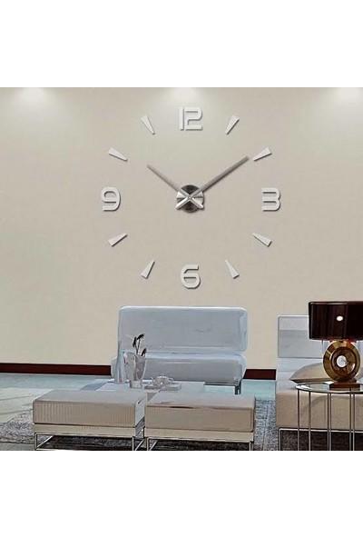Modern Nesil Dıy 3D Dekoratif Büyük Boy Sticker Duvar Saati