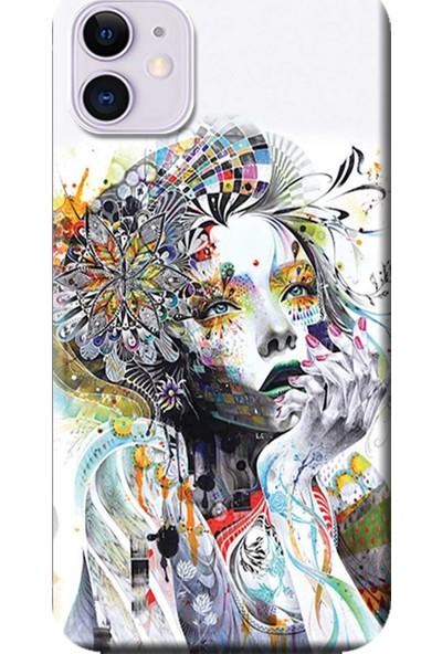 Kılıf Merkezi Apple iPhone 11 Kılıf Baskılı Silikon Düşünen Kız Tasarım STK:574