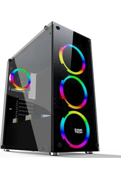 GameTech Spectra 4x120 mm Fanlı Tempered Glass Oyuncu Bilgisayar Kasası (PSU Yok)