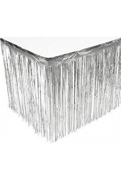 Layda Süs Metalize Püsküllü Masa Eteği Gümüş Renk