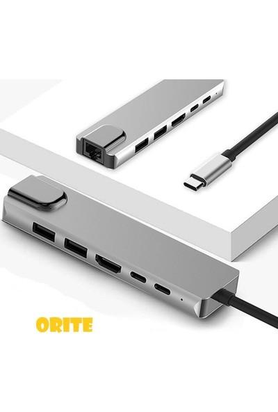 Orite Multifunction-02 6 In 1 Macbook Uyumlu Type C To 4K HDMI Tv Projeksiyon Ultra Hd 1080P 2type C +2USB+1000MBPS RJ45 Lan Adaptör
