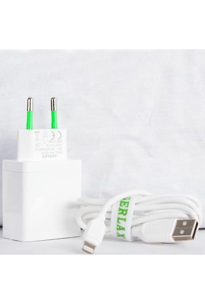 Gerlax Çift USB Lightning Şarj Cihazı 5V 2.1A 1m Beyaz