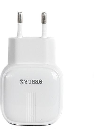 Gerlax Çift USB Type-C Şarj Cihazı 5V 2.1A 1m Beyaz