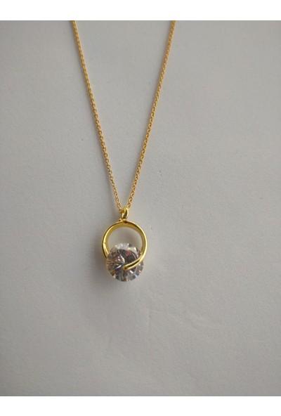 Fashion Jewellery Altın Kaplama Kadın Oval Taşlı Kolye