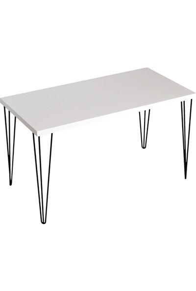 Sanal Mobilya Penia Metal Ayaklı Mutfak Masası Mat Beyaz