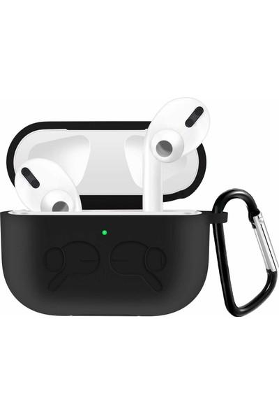 Tonmeister MAKT Apple Airpods Pro Kancalı Silikon Kılıf Siyah