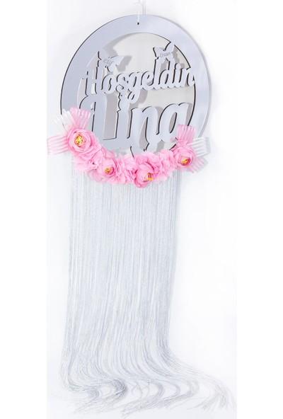 Meşgalem İsme Özel Kız Bebek Kapı Süsü Pembe Çiçekli