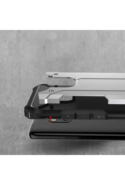 Tekno Grup Samsung Galaxy A91 Kılıf Çift Katmanlı Darbe Emici Crash Tank Kılıf Gold + Tam Kaplayan 5D Cam Ekran Koruyucu