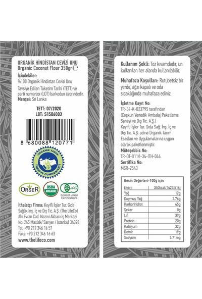 The Lifeco Organik Hindistan Cevizi Unu 350 gr