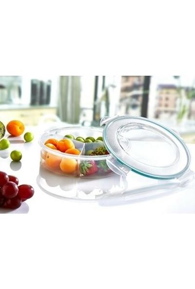 Meleni Home Fresh Box 3 Bölmeli Yuvarlak Sızdırmaz Saklama Kabı