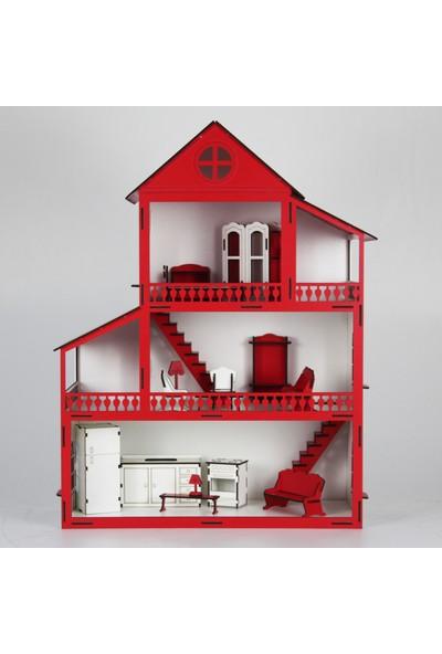 Hayal Oyuncak Ahşap Rüya Oyun Evi Portatif Barbi Bebek Seti Büyük Şimşek 60 cm