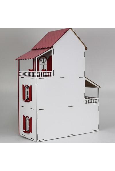 Hayal Oyuncak Ahşap Rüya Oyun Evi Portatif Barbie Bebek Seti Büyük Şimşek 80 cm