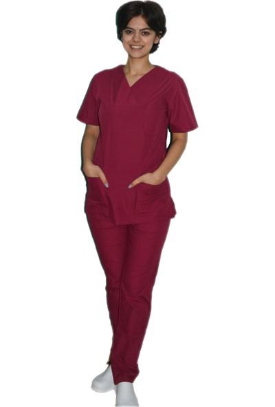 Palmiye Üniforma Borde Renk Terrycotton Hemşire Forması Veteriner Forması Doktor