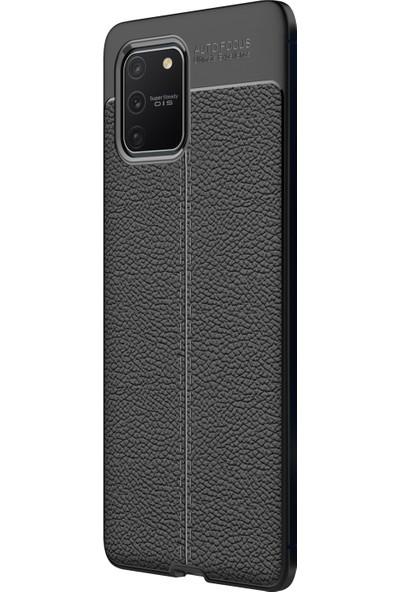 Microsonic Samsung Galaxy A91 Kılıf Deri Dokulu Silikon Siyah