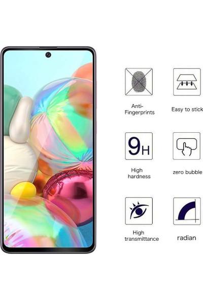 Microsonic Samsung Galaxy A71 Tam Kaplayan Temperli Cam Ekran Koruyucu Siyah