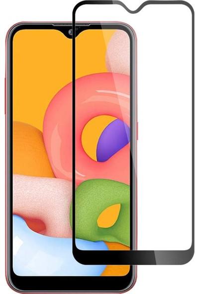Microsonic Samsung Galaxy A01 Tam Kaplayan Temperli Cam Ekran Koruyucu Siyah