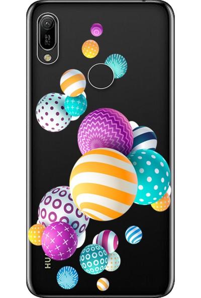 Kılıf Merkezi Huawei Y6 2019 Kılıf MRD-LX1 Baskılı Silikon Renkli Toplar STK:337