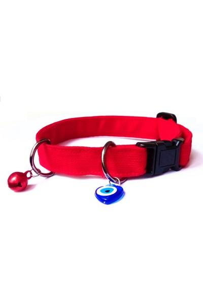 Stylie El Yapımı Kedi Tasması Nazar Boncuklu ve Zilli Kırmızı