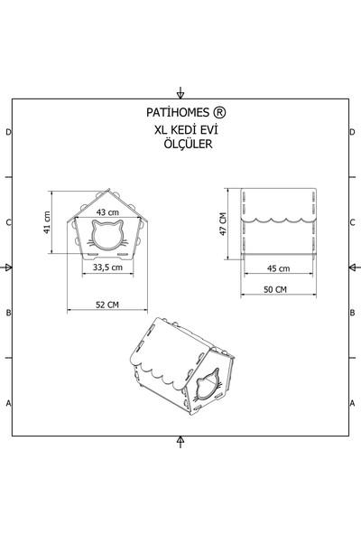 Patihomes Xl Kedi Evi Pencereli- Kedi Kulübesi Siyah