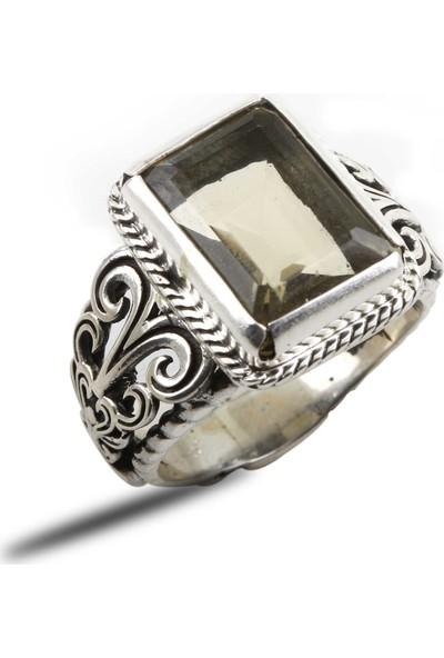 Osmanlı Pazar Doğal Sitrin Taşlı 925 Ayar Gümüş Yüzük