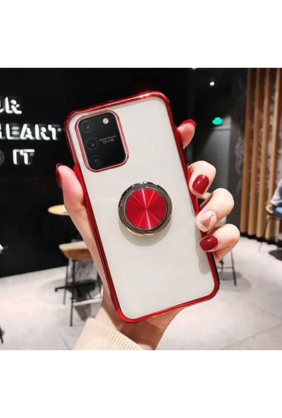 Coverzone Samsung Galaxy Note 10 Lite Kılıf Dört Köşeli Lazer Şeffaf Silikon Thunder Kırmızı + Nano Glass