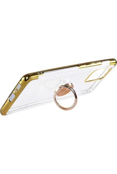 Coverzone Samsung Galaxy Note 10 Lite Kılıf Dört Köşeli Lazer Şeffaf Silikon Thunder Rose Gold + Nano Glass