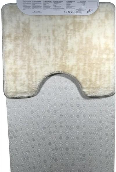 Potamia Banyo Paspas Takımı Kaymaz Tabanlı 60 x 100 cm 2'li Set Bej