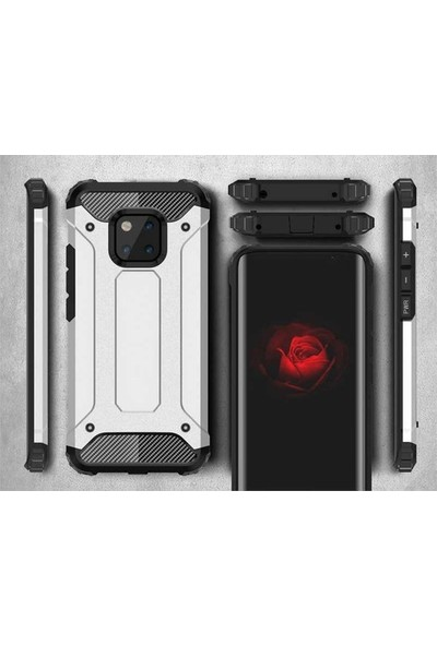 Fujimax Xiaomi Mi 10 Crash Sert Kaplamalı Zırh Özellikli Silikon Kılıf + Fiber Tam Kapatan 9H Nano Ekran Koruycu - Siyah