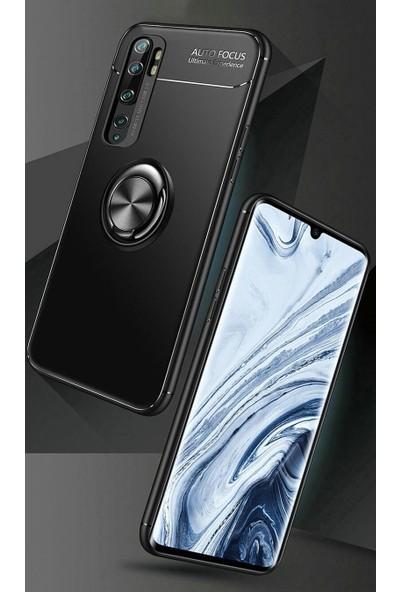 Fujimax Xiaomi Mi 10 Ultra Korumalı Yüzüklü Manyetik Ravel Silikon Kılıf + Tam Kapatan Temperli Ekran Koruycu - Siyah