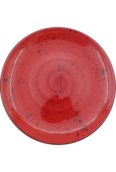 Tulu Porselen 6 Adet Reaktif Kırmızı Model Pasta Tabağı Takımı