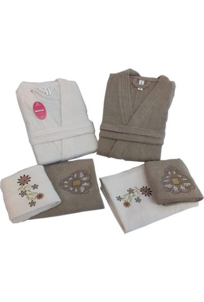 Binnur Kimono Yaka Bornoz Takımı 6 Parça Kahve Krem