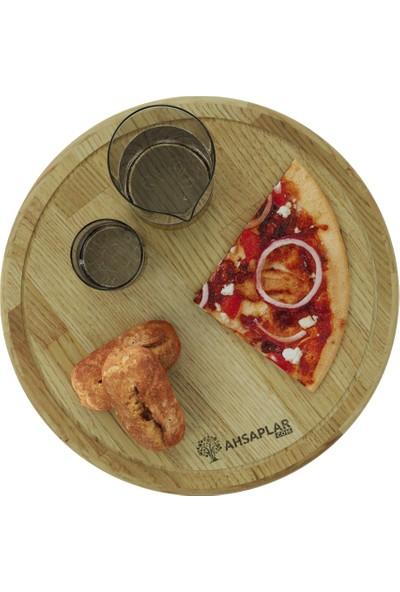 Ahşaplar Büyük Boy Pizza Sunum Tahtası Kestane Ağacı