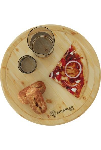 Ahşaplar Rustik Çam Pizza Kesim Sunum Tahtası
