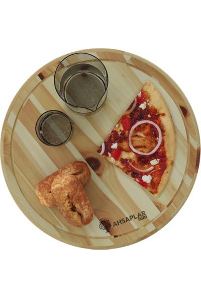 Ahşaplar Rustik Ladin Yuvarlak Pizza Sunum ve Servis Tahtası