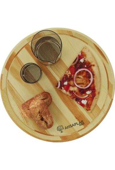 Ahşaplar Doğal Ahşap Pizza Kesim Sunum Tahtası Çam Ağacı