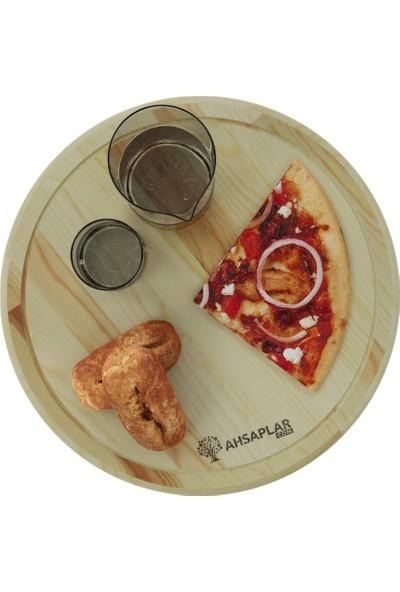 Ahşaplar Doğal Ahşap Pizza Kesim Sunum Tahtası Ladin Ağacı