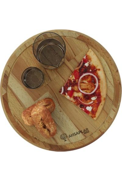 Ahşaplar Büyük Boy Pizza Sunum Tahtası Kayın Ağacı