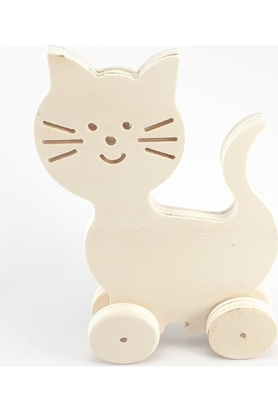 Bala Ahşap Oyuncak Ahşap Boyama Oyuncağı Kedi