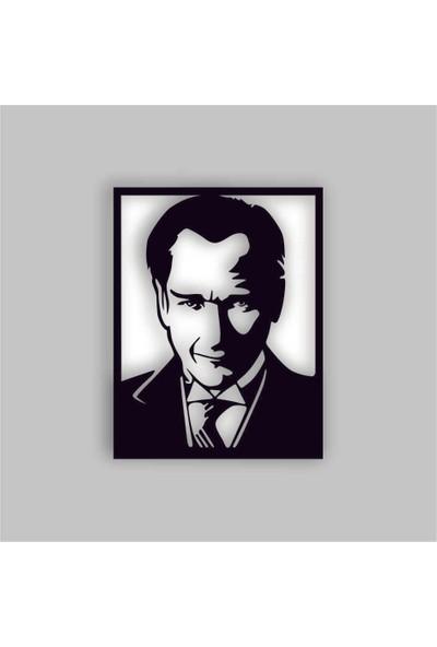 Adzen Atatürk Temalı Mdf Dekoratif Tablo Siyah-Beyaz