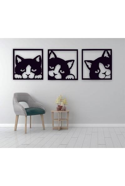 Adzen Kedi Temalı 3 Parça Mdf Dekoratif Tablo