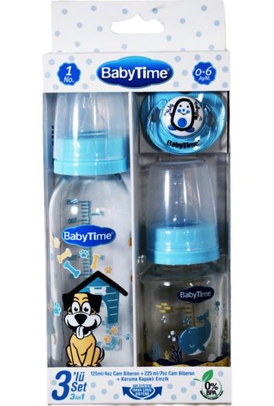 Baby Time Üçlü Cam Biberon Seti - 220 ml Cam Biberon +120 ml Cam Biberon + Damaklı Emzik 0-6 Ay