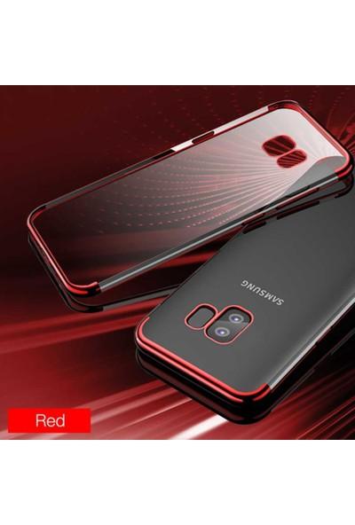 Tekno Grup Samsung Galaxy A91 Kılıf Dört Köşe Renkli Şeffaf Lazer Silikon Siyah