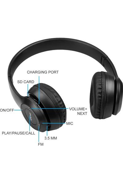 P47 Kulak Üstü Kablosuz Kulaklık Bluetooth Kulaklık Aux ve Hafıza Kartı Girişli Siyah