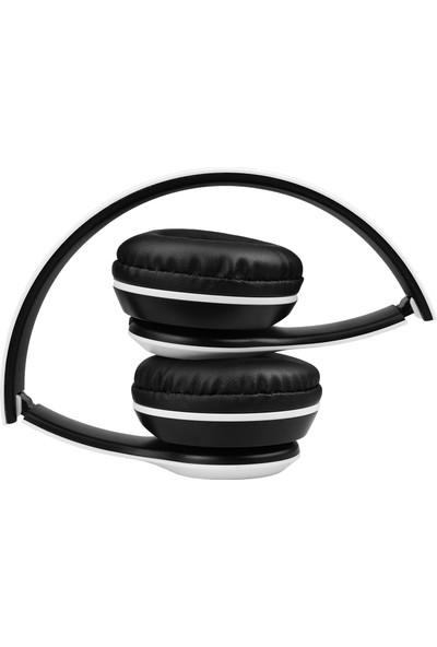 P47 Kulak Üstü Kablosuz Kulaklık Bluetooth Kulaklık Aux ve Hafıza Kartı Girişli Beyaz
