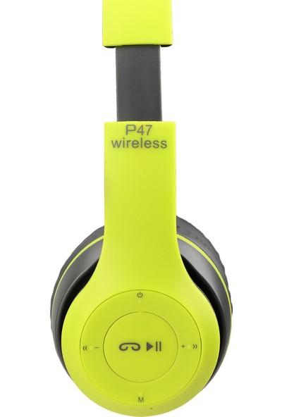 P47 Kulak Üstü Kablosuz Kulaklık Bluetooth Kulaklık Aux ve Hafıza Kartı Girişli Yeşil