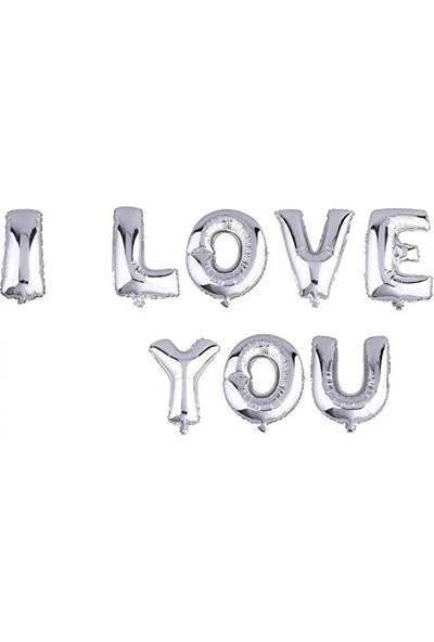 KbkMarket Gümüş I Love You Folyo Balon